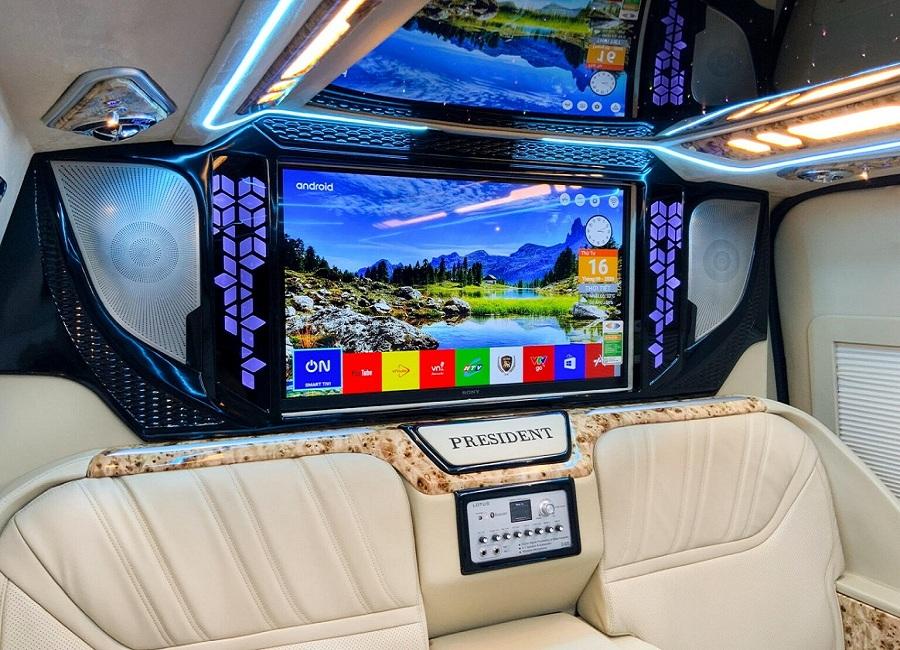 máy hát karaoke, tv trên xe limousine